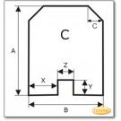 Plaque de sol, Plaque de cheminée, Plaque de poêle, Plaque en verre clair, forme C, format au choix S2