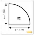 Plaque de sol, verre sablé Ice-Look, format: K2