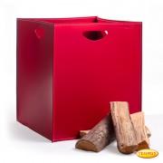 Panier à bois en cuir. Panier à bûches - Modèle Rosso Vanga