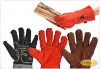 Gants de cheminee resistants a la chaleur en cuir